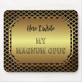 Black and Gold Scallop Pattern Magnum Opus Mouse Pad