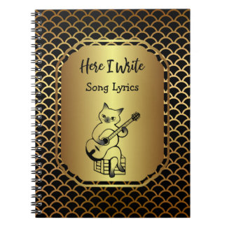 Black and Gold Scallop Song Lyrics Spiral Notebook