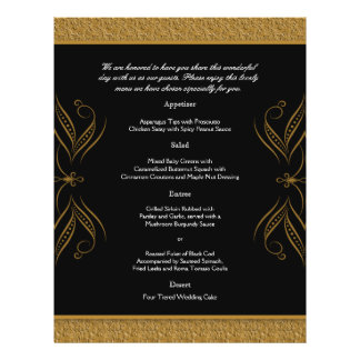 Black and Gold Scroll Accent Wedding Menu Flyer