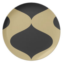 Black and Gold Smooch Dinner Plate