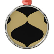 Black and Gold Smooch Metal Ornament
