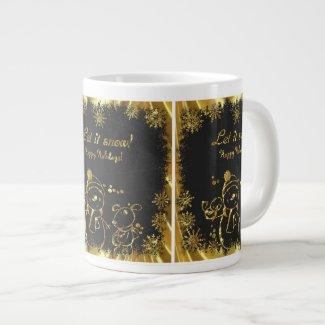 Black And Gold Snowman Illustration-Let It Snow