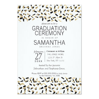 Black and Gold Speckles Graduation Ceremony Invite