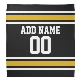 Black and Gold Sports Jersey Custom Name Number Bandana