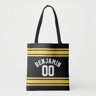 Black and Gold Sports Jersey Custom Name Number Tote Bag