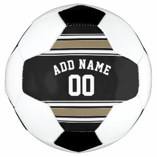 Black and Gold Sports Jersey Name - Can EDIT Color Soccer Ball