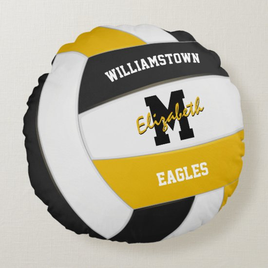 black and gold sports team colors volleyball round pillow