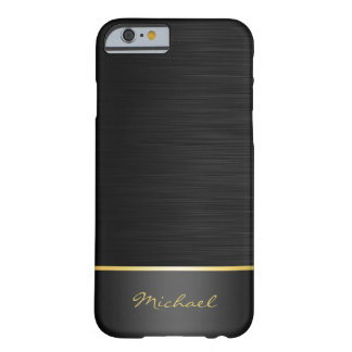 black and gold stainless steel pattern with name barely there iPhone 6 case