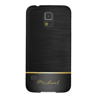 black and gold stainless steel pattern with name galaxy s5 case