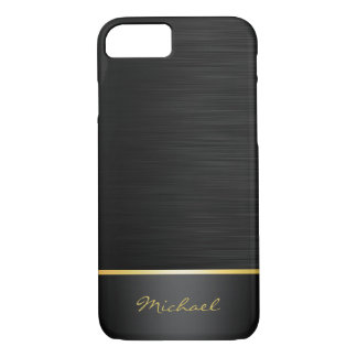 black and gold stainless steel pattern with name iPhone 7 case