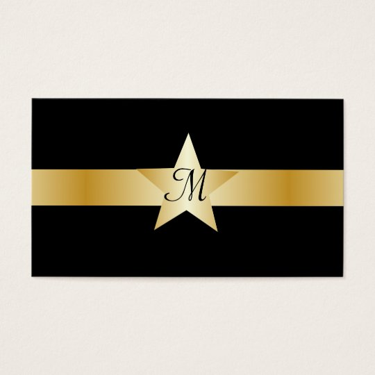 Black And Gold Star Monogrammed Business Card