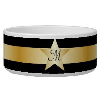 Black And Gold Star Monogrammed Pet Bowl Dog Food Bowls