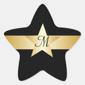 Black And Gold Star Monogrammed Star Sticker