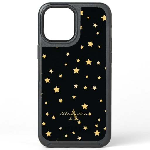 Black and Gold Starry Pattern Typography Monogram OtterBox Symmetry iPhone 12 Pro Max Case