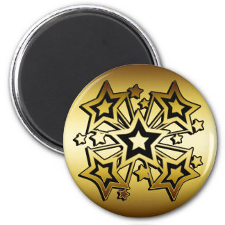 BLACK AND GOLD STARS 2 INCH ROUND MAGNET