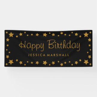 Black and Gold Stars Happy Birthday Banner
