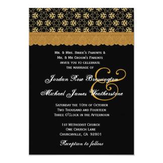 Black and Gold Stars MonogramWedding A004 5x7 Paper Invitation Card