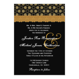Black and Gold Stars MonogramWedding A004 Card