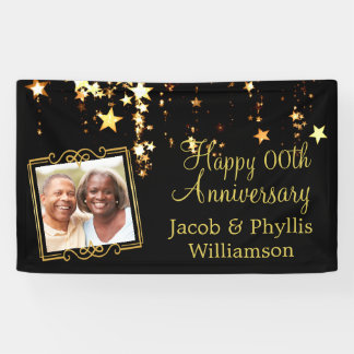 Black and Gold Stars w/ Photo Any Year Anniversary Banner