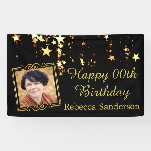 Black and Gold Stars w Photo Any Year Birthday Banner