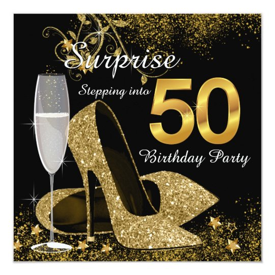 Black and Gold Stepping Into 50 Birthday Party Card ...