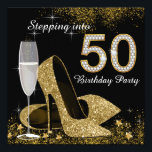 """Black and Gold Stepping Into 50 Birthday Party Invitation<br><div class=""""desc"""">Beautiful black and gold stepping into 50 birthday party invitation with elegant champagne glass, and gold high heel shoes. You can easily customize this elegant black and gold stepping into 50 birthday party invitation for your event by simply adding your details in the font style and color, and wording of...</div>"""