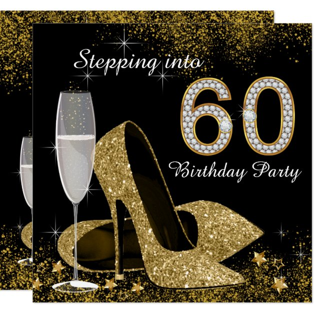 Black and Gold Stepping Into 60 Birthday Party Card ...