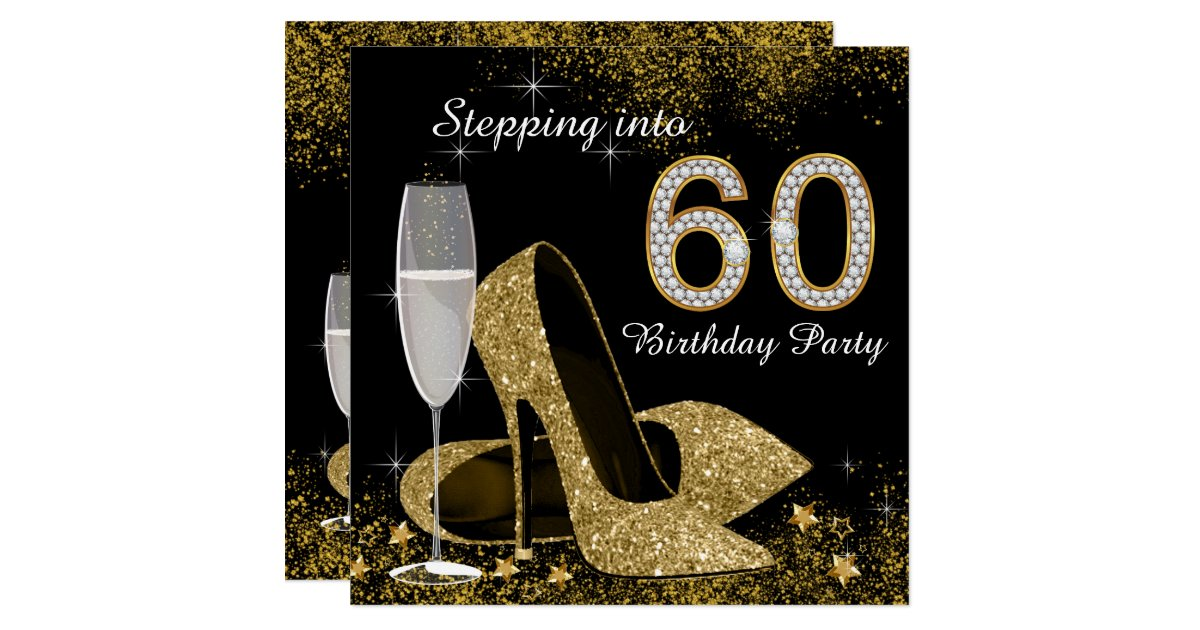 Wedding Gifts For 60 Year Olds : Black and Gold Stepping Into 60 Birthday Party Card Zazzle
