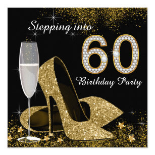 60th birthday invitations zazzle black and gold stepping into 60 birthday party card filmwisefo Images
