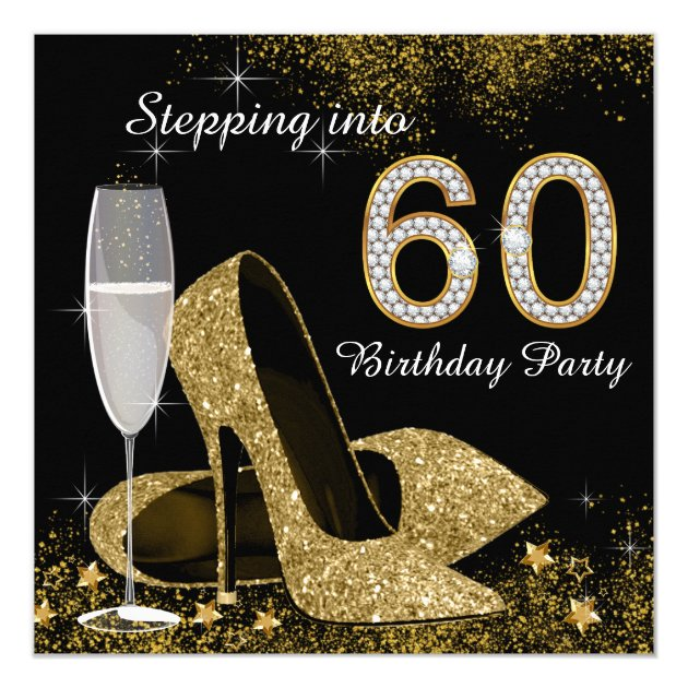 Black and Gold Stepping Into 60 Birthday Party Card | Zazzle