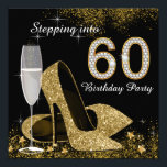 "Black and Gold Stepping Into 60 Birthday Party Invitation<br><div class=""desc"">Beautiful black and gold stepping into 60 birthday party invitation with elegant champagne glass, and gold high heel shoes. You can easily customize this elegant black and gold stepping into 60 birthday party invitation for your event by simply adding your details in the font style and color, and wording of...</div>"