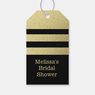 Black And Gold Stripe Bridal Party Gift Tags