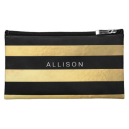 Black and Gold Stripe Personalized Cosmetic Bag