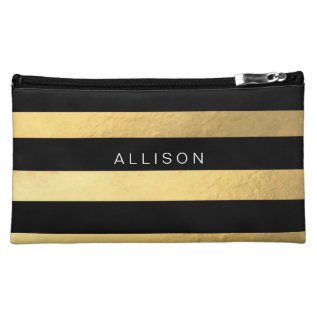 Black And Gold Stripe Personalized Cosmetic Bag at Zazzle