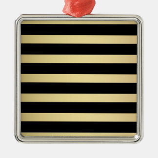 Black and Gold - Striped Pattern Metal Ornament