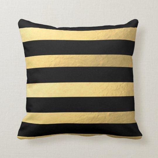 black and gold striped pillow. Black Bedroom Furniture Sets. Home Design Ideas