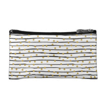Black and Gold Stripes and Dots Pattern Cosmetic Bag