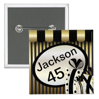 Black and Gold Stripes | DIY Text 2 Inch Square Button