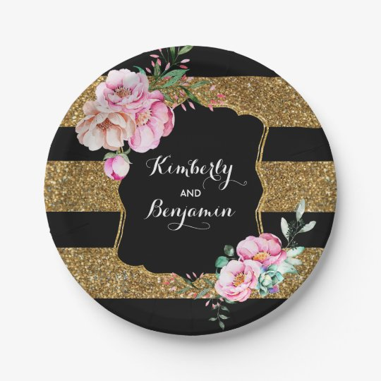 Black and Gold Stripes - Pink Floral Wedding Paper Plate  sc 1 st  Zazzle : pink and brown paper plates - pezcame.com