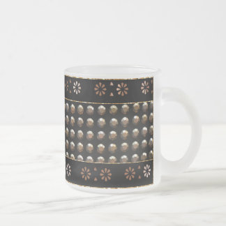 Black And Gold Studs Pattern 10 Oz Frosted Glass Coffee Mug