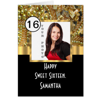 Black and gold sweet sixteen card