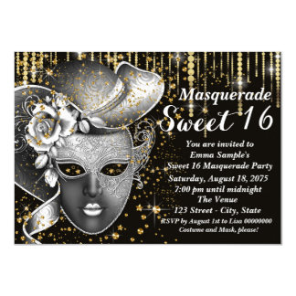 Black and Gold Sweet Sixteen Masquerade Party Card
