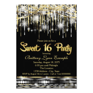 Black and Gold Sweet Sixteen Party Card