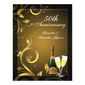 Black and Gold Swirl Custom 50th Anniversary Party 4.25x5.5 Paper Invitation Card