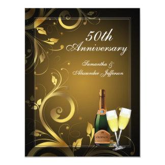 Black and Gold Swirl Custom 50th Anniversary Party Custom Invitations