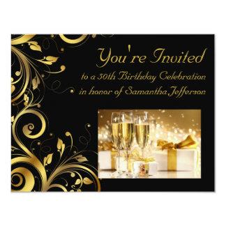 Black and Gold Swirl, Custom 50th Birthday Party 4.25x5.5 Paper Invitation Card