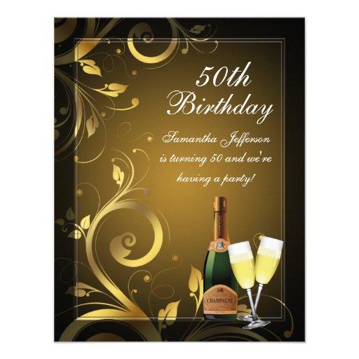 Black and Gold Swirl, Custom 50th Birthday Party Custom Invitations