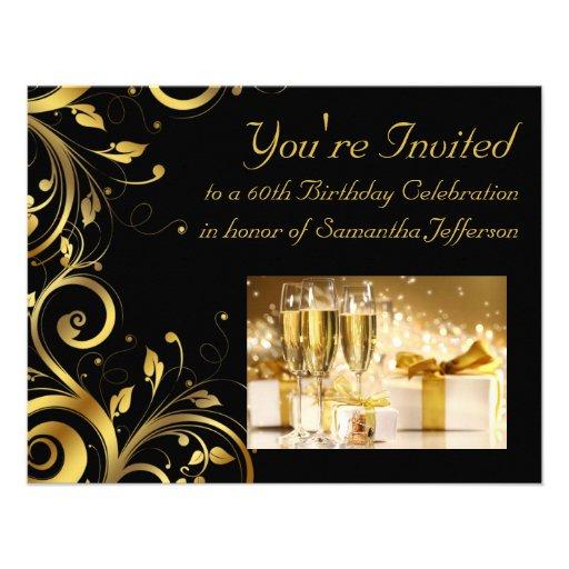 Black and Gold Swirl, Custom 60th Birthday Party Custom Invites