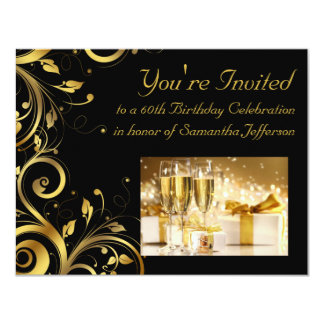 "Black and Gold Swirl, Custom 60th Birthday Party 4.25"" X 5.5"" Invitation Card"