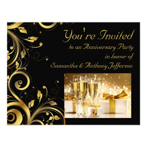 Black and Gold Swirl, Custom Anniversary Party Personalized Announcement